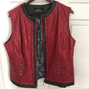 Red equestrian vegan leather Vest XL Montana Co